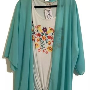 Floral Top Short Sleeve And Mint Kimono- brand new